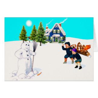 Repérez le jeu de combat de Snowball de bonhomme Cartes