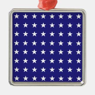 Répétition des étoiles de blanc sur le motif bleu ornement carré argenté