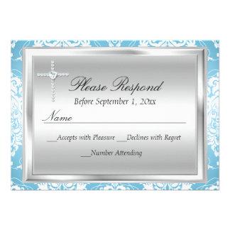 Réponse argentée bleue de damassé et de baptême cartons d'invitation