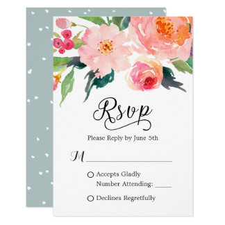 Réponse botanique de l'aquarelle lunatique RSVP Carton D'invitation 8,89 Cm X 12,70 Cm