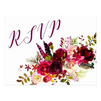 Réponse florale 3979, choix de Bourgogne RSVP Carte Postale