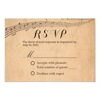 Réponse musicale vintage RSVP de mariage de Carton D'invitation 8,89 Cm X 12,70 Cm
