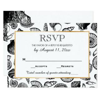 Réponse RSVP de mariage de plage de coquillages Carton D'invitation 8,89 Cm X 12,70 Cm