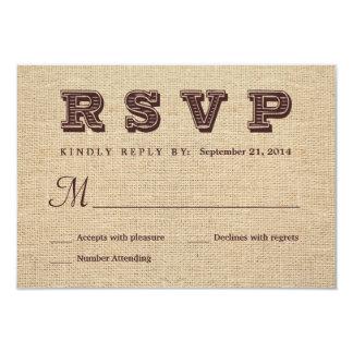 Réponse rustique de mariage de la toile de jute carton d'invitation 8,89 cm x 12,70 cm