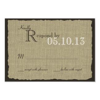 Réponse rustique de mariage de regard de toile de carton d'invitation 8,89 cm x 12,70 cm