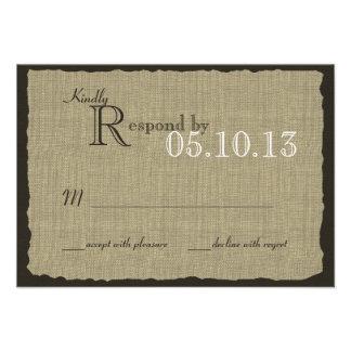Réponse rustique de mariage de regard de toile de cartons d'invitation personnalisés