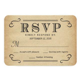 Réponse rustique de mariage de typographie vintage carton d'invitation 8,89 cm x 12,70 cm