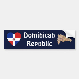 Représentant dominicain. Coeur de drapeau + Adhési Autocollant De Voiture