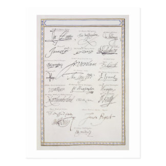 Reproduction des signatures du Tudors et leur Carte Postale