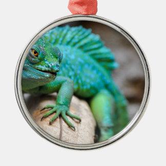 reptile ornement rond argenté
