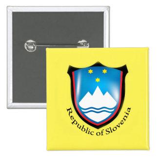 République de bouton de la Slovénie Badge Carré 5 Cm