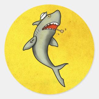 Requin de marin de vieille école adhésifs ronds