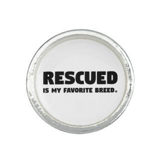 Rescued est ma race préférée bague avec photo
