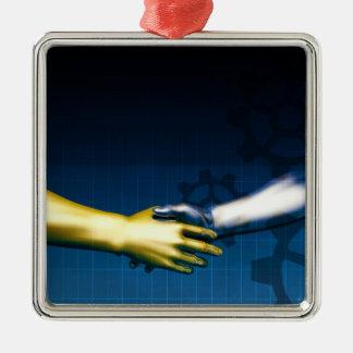 Réseau d'intégration d'affaires avec des mains ornement carré argenté