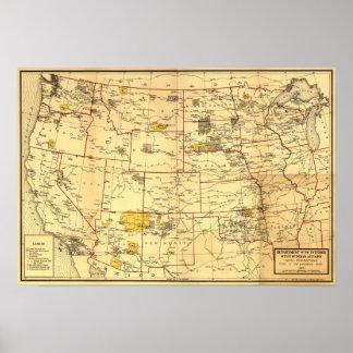 Réserves indiennes à l'ouest du Mississippi Affiche