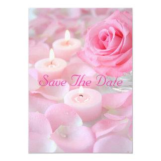 Réservez la date--Dentelez rose et les bougies Carton D'invitation 12,7 Cm X 17,78 Cm