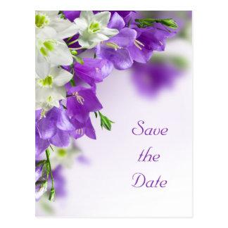 Réservez la date--Fleurs pourpres verticales Cartes Postales