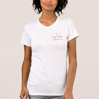 Réservoir rose et blanc de faire-part de mariage t-shirt