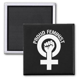 Résistance féministe - féministe fier --  blanc - magnet carré