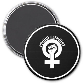 Résistance féministe - féministe fier --  blanc - magnet rond 7,50 cm