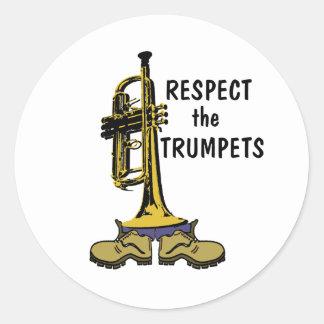Respectez les trompettes sticker rond
