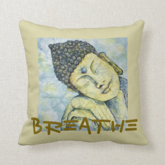 Respirez le coussin d'art d'aquarelle de Bouddha
