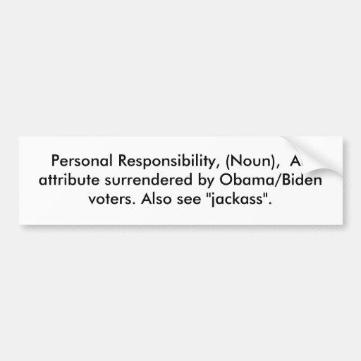 Responsabilité personnelle, (nom), un attribut… adhésif pour voiture
