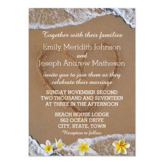 Ressac de Plumeria de Frangipani et coeur de sable Carton D'invitation 11,43 Cm X 15,87 Cm