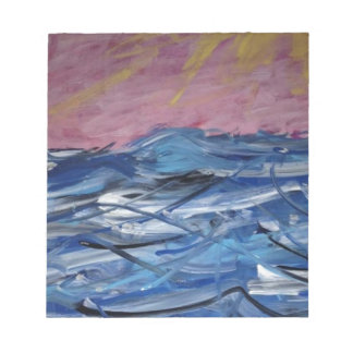 Ressacs abstraits et coucher de soleil blocs notes
