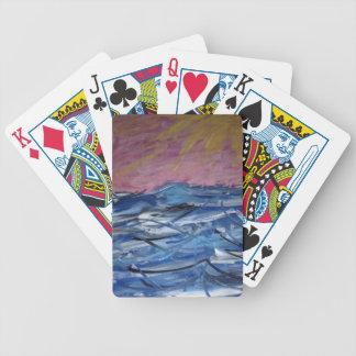 Ressacs abstraits et coucher de soleil jeux de cartes