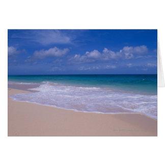 Ressacs écumant sur la plage sablonneuse carte de vœux