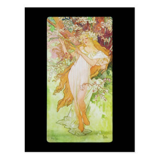 Ressort d'Alphonse Mucha Printemps Carte Postale