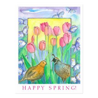 Ressort heureux d'aquarelle rose de tulipe cartes postales