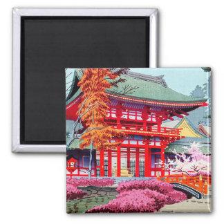Ressort rouge japonais frais Asano Takeji de templ Magnets