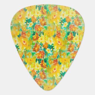 Ressort vintage floral sur le jaune onglet de guitare