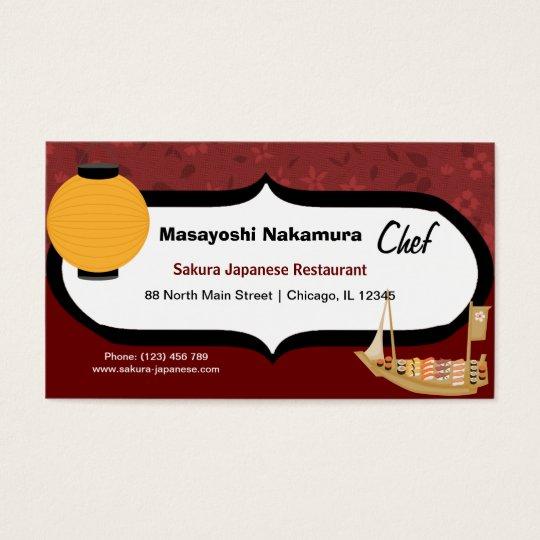 Restaurant japonais de chef cartes de visite zazzle for Restaurant japonais chef cuisine devant vous