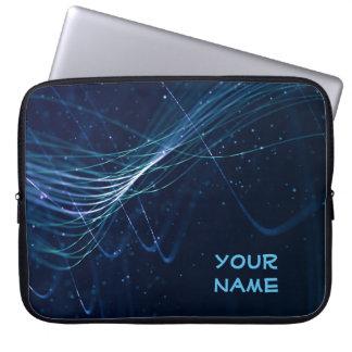 Résumé bleu-foncé avec le nom personnalisable protection pour ordinateur portable