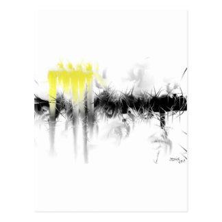 Résumé noir et jaune carte postale