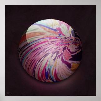 Résumé, remous coloré et marbre brillant de rayure poster