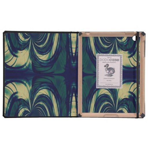 Résumé soyeux - bleu-foncé, beige, et vert coque iPad