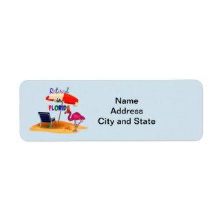 Retiré en Floride, étiquette de adresse lunatique