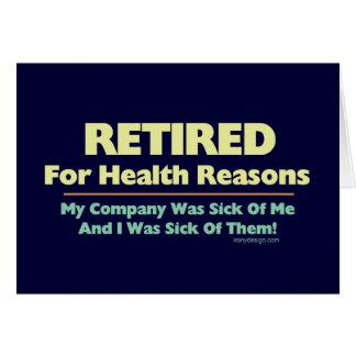 Retiré pour dire de raisons de santé cartes