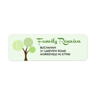 Retour lunatique de la Réunion de famille d'arbre Étiquette D'adresse Retour