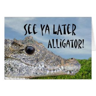 Retraite animale humoristique d'alligator cartes de vœux