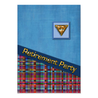 Retraite de bleu et de plaid 3D Carton D'invitation 12,7 Cm X 17,78 Cm