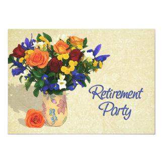 Retraite d'iris et d'oeillets de roses cartons d'invitation