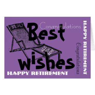 Retraite heureuse avec la rétro chaise longue 1 carte de vœux
