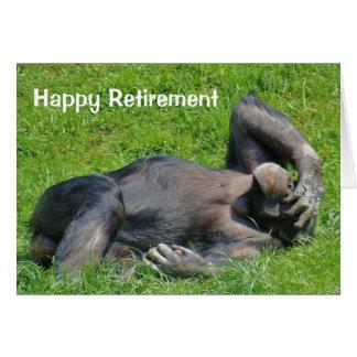 Retraite heureuse - carte de voeux de chimpanzé