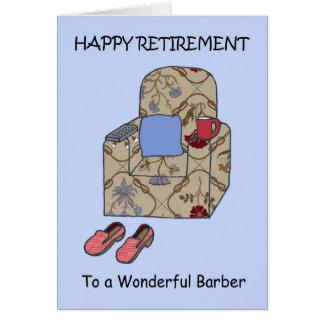 Retraite heureuse de coiffeur carte de vœux