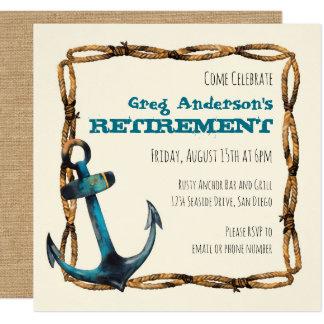 Retraite nautique rustique d'ancre carton d'invitation  13,33 cm